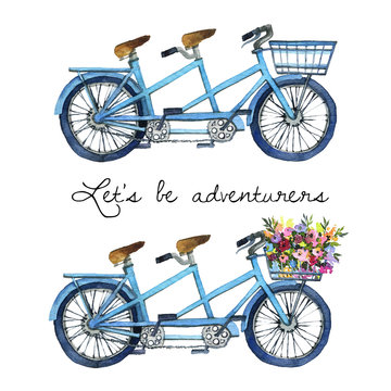 Watercolor illustration of a tandem bicycles