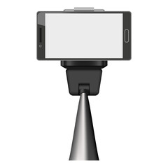 Smartphone on selfie stick mockup. Realistic illustration of smartphone on selfie stick vector mockup for web design isolated on white background