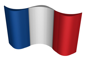 France flag 3D geometric isometric perspective illustration isolated on white background