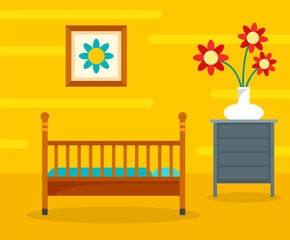 Baby room background. Flat illustration of baby room vector background for web design