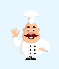Fat Cartoon Chef standing Flat Vector Illustration Design