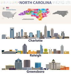Fototapete - vector congressional districts map and major cities skylines of North Carolina