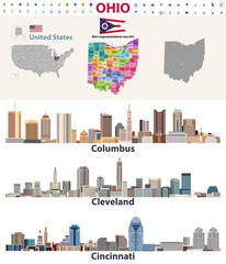 Fototapete -  vector map and major cities of Ohio state