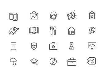 A set of linear icons of various services. Icons of various services. Icons of various services for the site. Linear style. Vector illustration Eps10 file