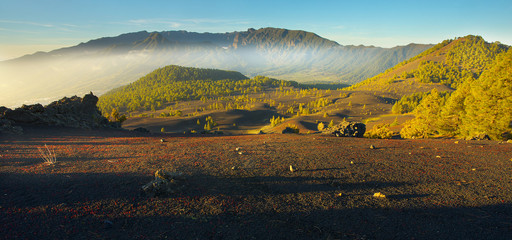 Volcanic landscape in the Island of La Palma with a crater Caldera de Taburiente on backgroud, Canary Islands, Spain
