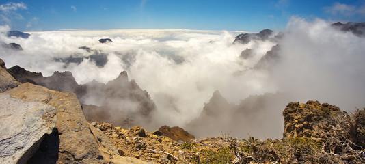 Clouds in the crater Caldera de Taburiente, Island of La Palma, Canary Islands, Spain