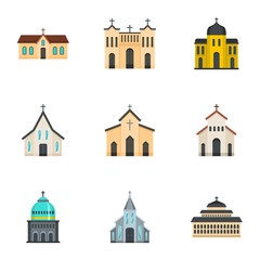 Fototapeta Church icons set. Cartoon set of 9 church vector icons for web isolated on white background