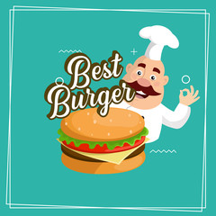 Fat Cartoon Chef best burger sticker logo Flat Vector Illustration Design