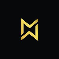 Initial letter MW WM MMWW minimalist art monogram shape logo, gold color on black background