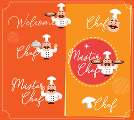 Fat Cartoon Chef text logos Flat Vector Illustration Design