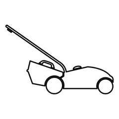 Lawn mower icon black color illustration flat style simple image