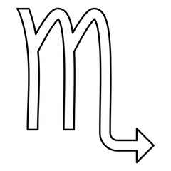 Scorpion symbol zodiac icon black color illustration flat style simple image