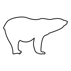 Polar bear icon black color illustration flat style simple image