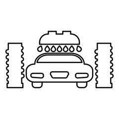 Car wash automatic icon black color illustration flat style simple image