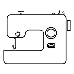 Sewing machine icon black color illustration flat style simple image