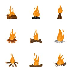 Bonfire icons set. Cartoon set of 9 bonfire vector icons for web isolated on white background