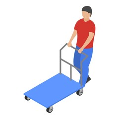 Warehouse cart icon. Isometric of warehouse cart vector icon for web design isolated on white background