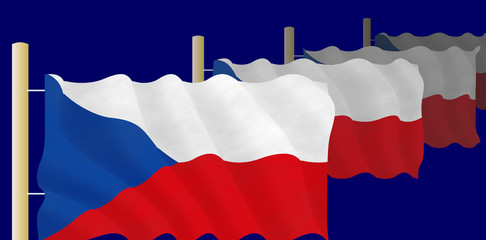 Czech flags on the flagpoles