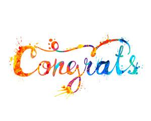 Congrats. Hand written doodle inscription of splash paint