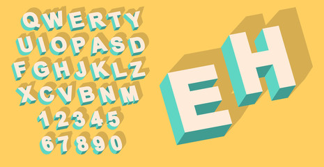 Vector of Vintage type alphabet with 3d threedimentional effect and shadow with flat colors