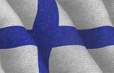 Illustraion of a flying Finnish Flag with a fabric pattern
