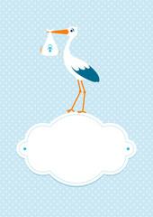 Baby Card Boy Stork Cloud Blue Stars