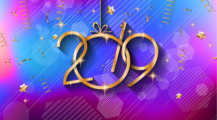 2019 Happy New Year Background for your Seasonal Flyers and Greetings Card