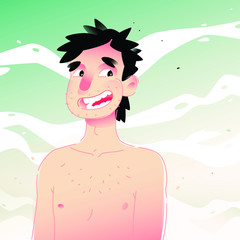 Illustration of a cute and cheerful man with a naked torso against the sky. Vector illustration. Young man on the beach. Background for design mockups. Flat illustration for banner and site. Mascot.