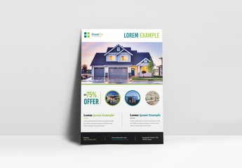 Real Estate Flyer Layout with Circular Elements and Green Accents