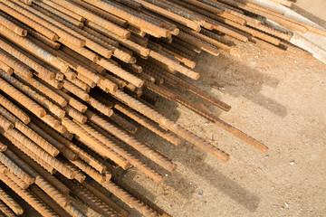 Rusty steel bar or steel reinforcement bar texture in construction site, Reinforcing Steel Bar background