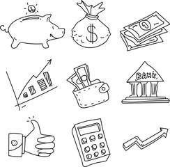 Set of money decorative objects isolated on white.