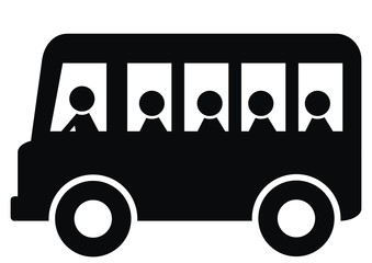 bus passengers, black silhouette, bus and people,  vector icon