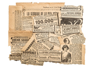 Newspaper pieces antique advertising Old magazine strips