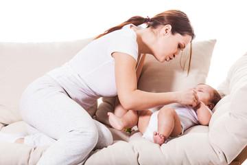 Mom comforts kid