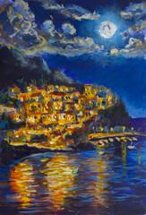 Night painting of Manarola. Small coastal village in Italian region of Liguria, Cinque Terre. Province of La Spezia. UNESCO World Heritage List. Italy. Night city on mountain is reflected in sea.
