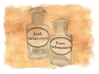 Antique Medicine Pharmacy BOTTLES with Label of Ferrous Carbonate Saccharated and Tartaric Acid Crystals on Original Antique PARCHMENT PAPER Texture