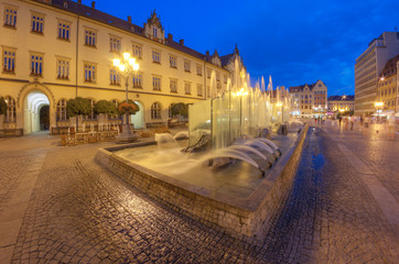 A beautiful fountain in the center of the old town. Wroclaw, Poland.