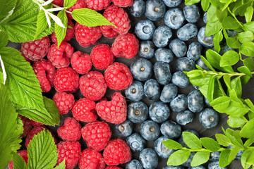 Blueberries and raspberries. Food background