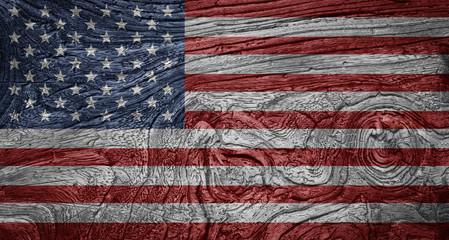 USA Flag Vintage Wood Texture Background