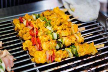 Thai vegetable and pork skewers