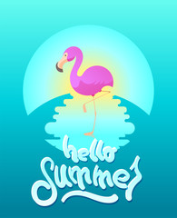 "Summer vector illustration with flamingo  and hand-drawing word ""Paradise"""