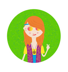Beautiful hippie girl cute sticker in bright colors. Cartoon style.