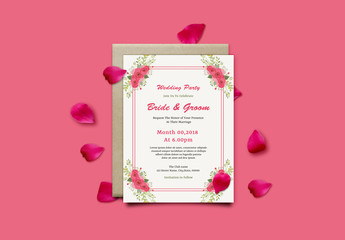 Wedding Invitation Layout with Floral Corner Elements