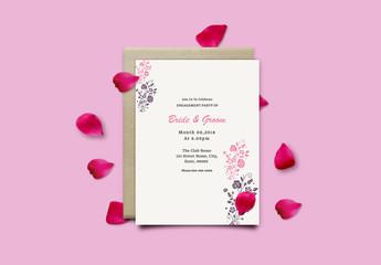 Engagement Party Invitation Layout with Stamped Bouquet Illustrations