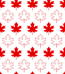 Maple leaves on white background - Seamless pattern