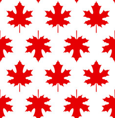 Red maple leaves on white background - Seamless pattern