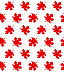 Red maple leaves on white - Seamless pattern