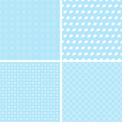 Different blue seamless patterns