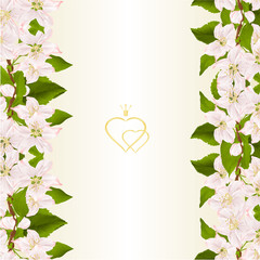 Floral vertical border seamless background with twig of apple tree with flowers vintage vector illustration for use in interior design, artwork, dishes, clothing,greeting cards  editable hand draw