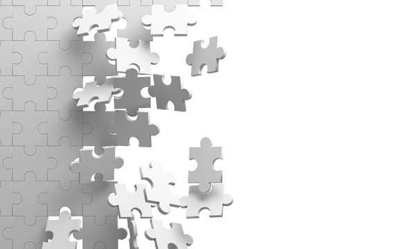 Exploding jigsaw puzzle on white background. Breaking the wall. 3d illustration